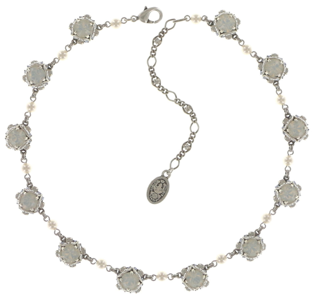 necklace Byzantine white shiny silver