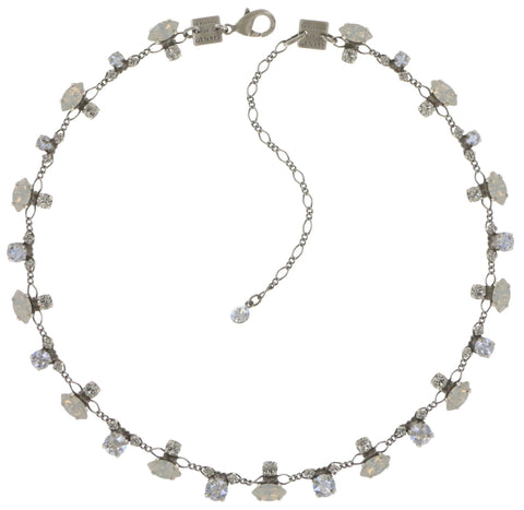 necklace Marguerite white shiny silver