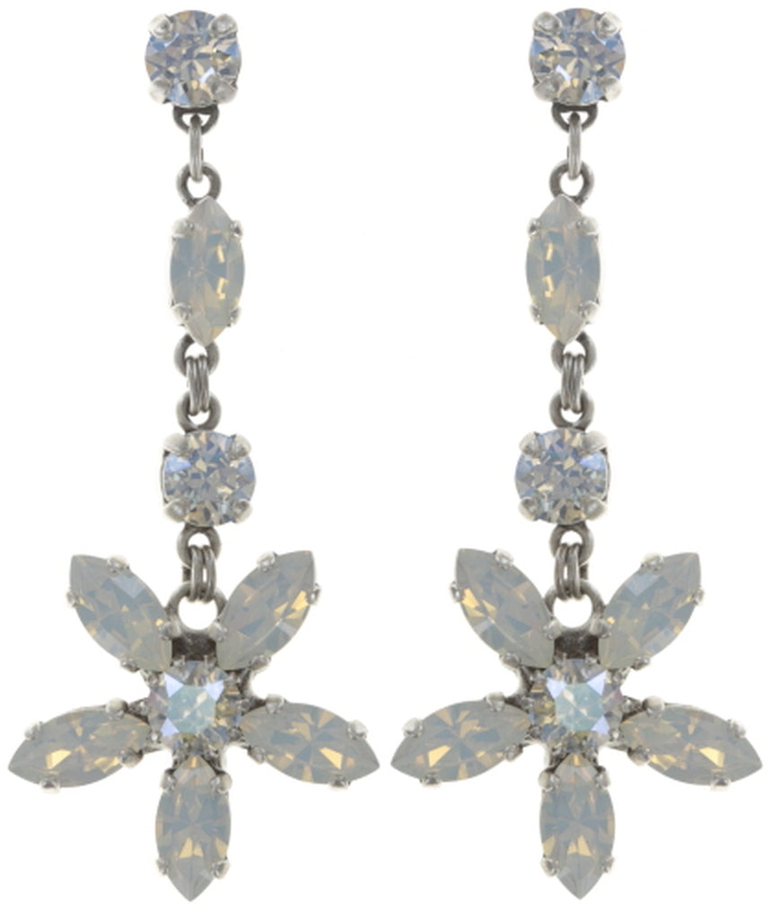 earring stud dangling Marguerite white shiny silver