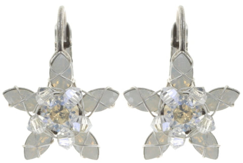 earring eurowire Marguerite white shiny silver