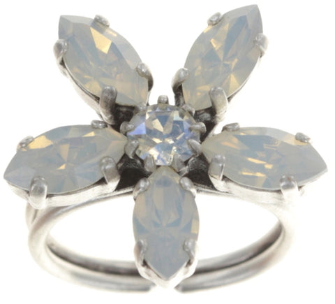 ring Marguerite white shiny silver