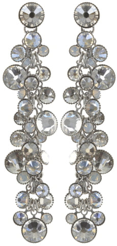 earring stud dangling Waterfalls white shiny silver