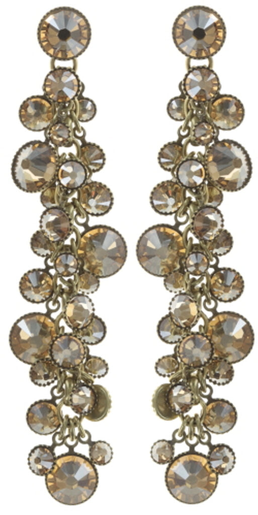 earring stud dangling Waterfalls beige shiny brass