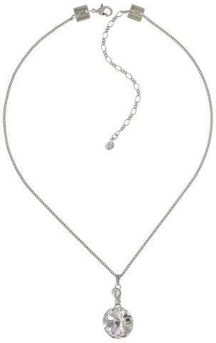 necklace pendant Rivoli white shiny silver
