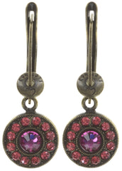 earring dangling Spell on You coralline/dark rose antique brass