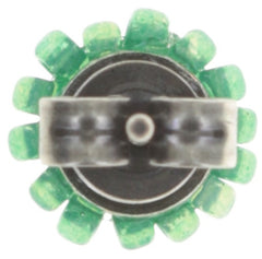 earring stud Kaleidoscopic green antique silver