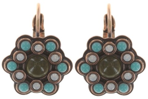 earring eurowire Mandala brown/green Light antique copper