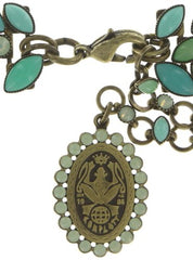 necklace Dance with Navette green antique brass
