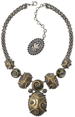 necklace-Y Dragon Shield green antique silver/antique brass
