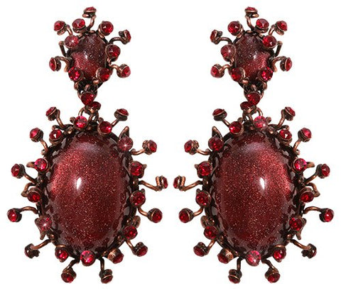 earring stud dangling Galaxy in Glass red antique copper large, small