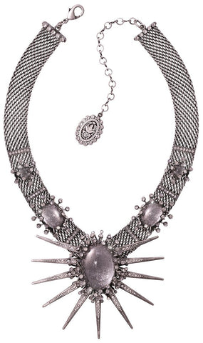 necklace Galaxy in Glass white/grey antique silver extra large, medium, small