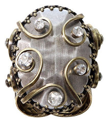 ring Dragon Shield white antique brass/antique silver