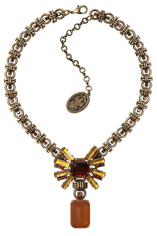 necklace-Y Aztec brown/yellow antique brass