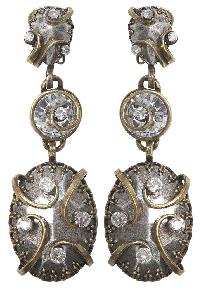 earring clip dangling Dragon Shield white antique brass/antique silver