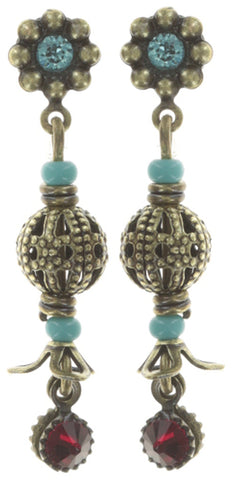 earring stud dangling Arsenic in Old Lace multi antique brass