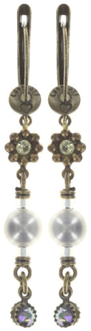 earring dangling Arsenic in Old Lace light pastel multi antique brass