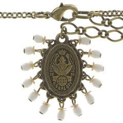 necklace pendant (long) Mandala white antique brass