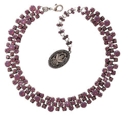 necklace Love Me Tender, Love Me Sweet dark pink antique silver