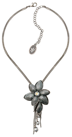 necklace pendant Blossoms of the Past blue antique silver