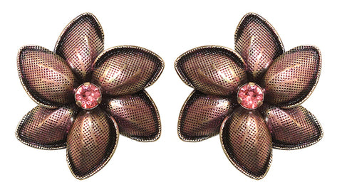earring stud Blossoms of the Past pink antique brass