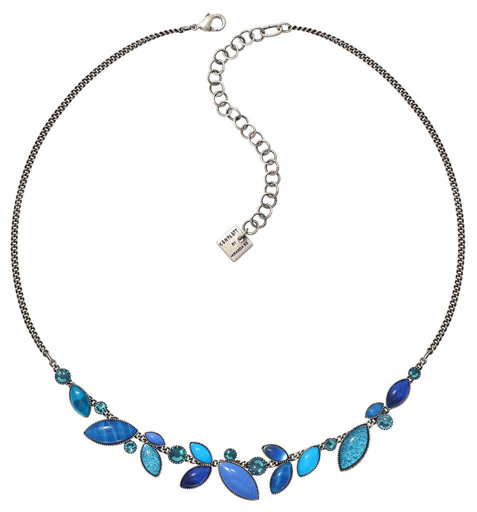 necklace Dance with Navette blue antique silver