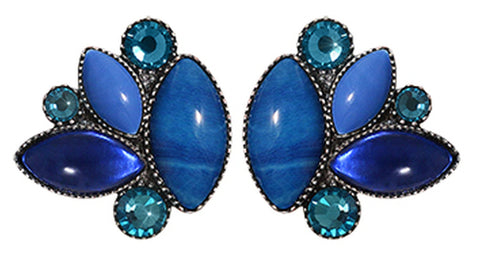 earring stud Dance with Navette blue antique silver
