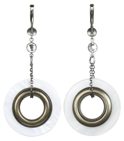 earring dangling Eternal Rings white antique silver/antique brass