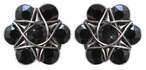 earring stud 70´s Circles black antique silver