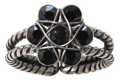 ring 70´s Circles black antique silver