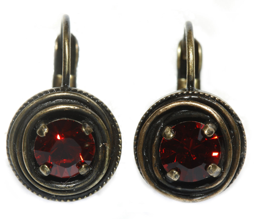 earring eurowire Cages red antique brass SS 29