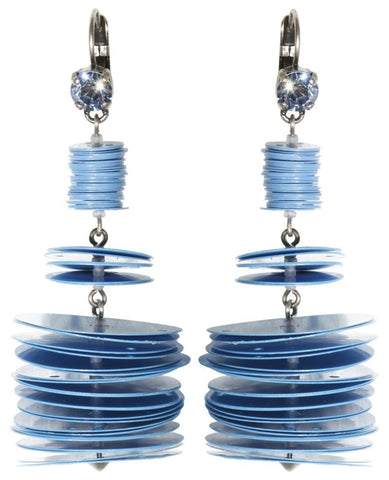 earring eurowire dangling Lollipop blue antique silver