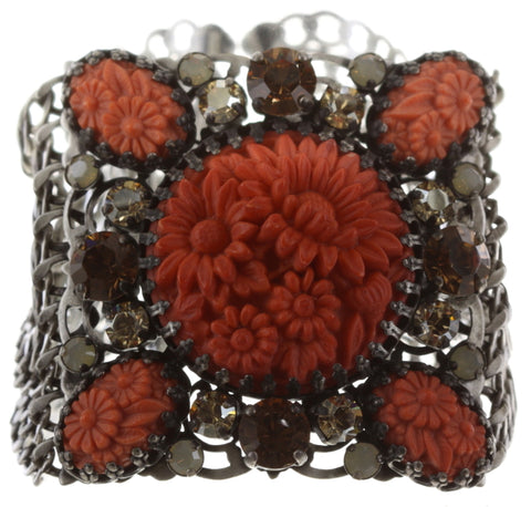 bracelet Victoria coralline/brown antique silver
