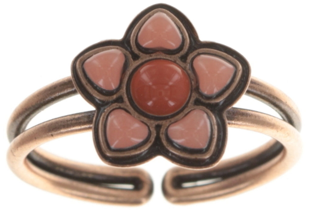 ring Mandala brown/green Light antique copper
