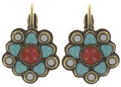 earring eurowire Mandala multi antique brass