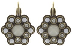 earring eurowire Mandala white antique brass