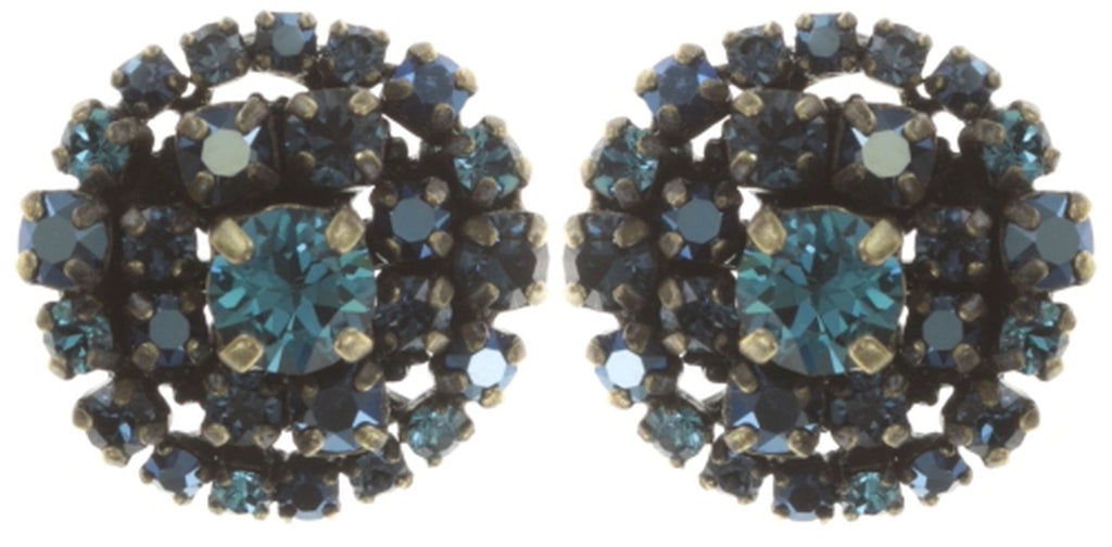 earring stud Ballroom blue antique brass