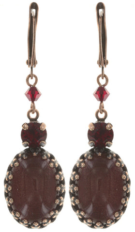 earring dangling Chinoiserie red antique copper