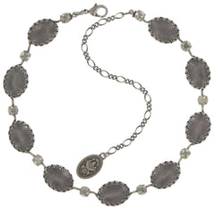 necklace Chinoiserie white/grey antique silver