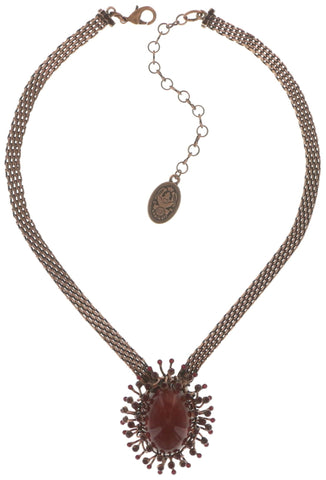 necklace Galaxy in Glass red antique copper extra large