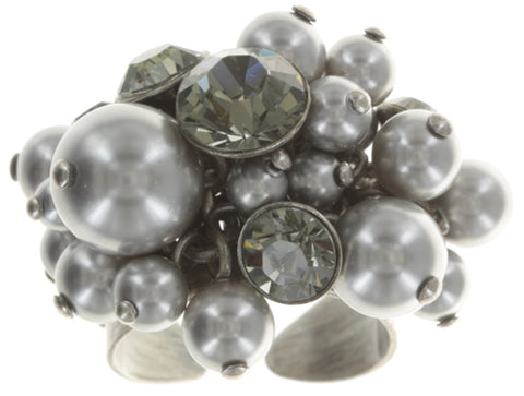 ring Pearl Shadow grey antique silver