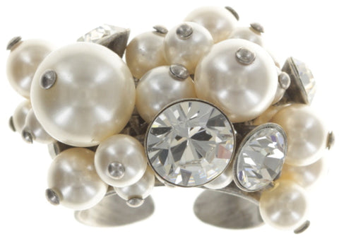 ring Pearl Shadow white antique silver