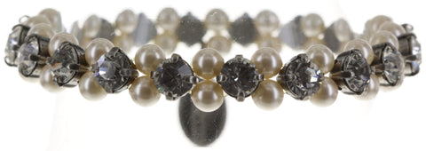 bracelet elastic Pearl Shadow white antique silver medium