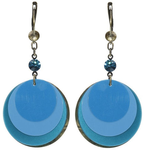 earring dangling Lollipop blue antique brass
