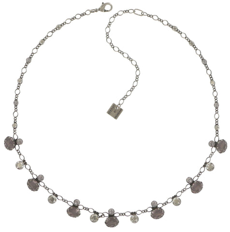 necklace Galaxy in Glass white/grey antique silver