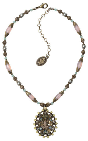 necklace-Y Arsenic in Old Lace light pastel multi antique brass medium