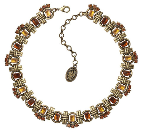 necklace Aztec brown/yellow antique brass