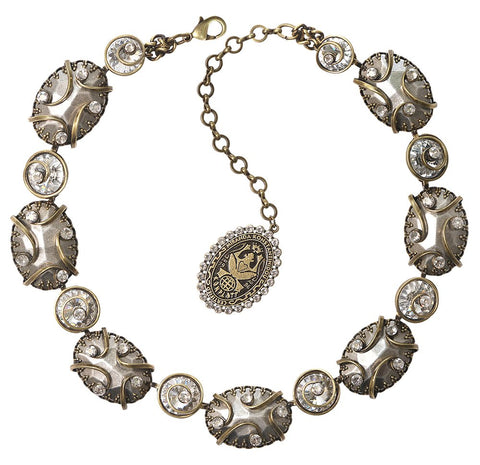 necklace Dragon Shield white antique brass/antique silver