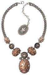 necklace-Y Dragon Shield brown antique silver/antique copper