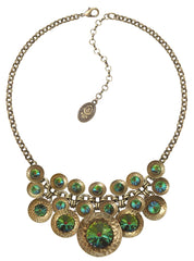 necklace Rivoli Concave green antique brass