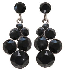 earring stud dangling Petit Glamour pure black antique silver